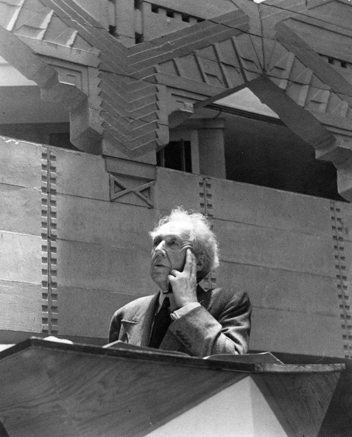 Frank Lloyd Wright spoke at Annie Pfeiffer Chapel, a building he designed for Florida Southern College, during his campus visit following the chapel's completion. Photo courtesy of Florida Southern College's Archives.