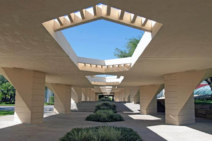 "With the exception of one building, the structures designed by architect Frank Lloyd Wright for Florida Southern College in Lakeland, Florida, are linked together by a series of covered walkways that Wright called ""esplanades."" Photo courtesy of Florida Southern College."