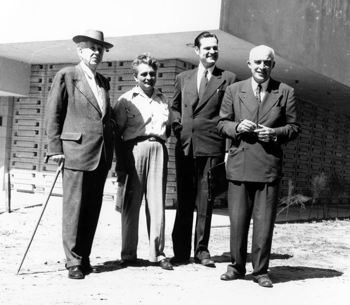 American architect Frank Lloyd Wright (left to right); Robert D. Wehr, a member of Florida Southern College's faculty and construction superintendent; William Wesley Peters, Wright's son-in-law and on-site supervisor; and the Rev. Ludd M. Spivey, a United Methodist pastor and president of Florida Southern College from 1925 to 1959, pose in an undated picture. Photo courtesy of Southern Florida College's Archives.