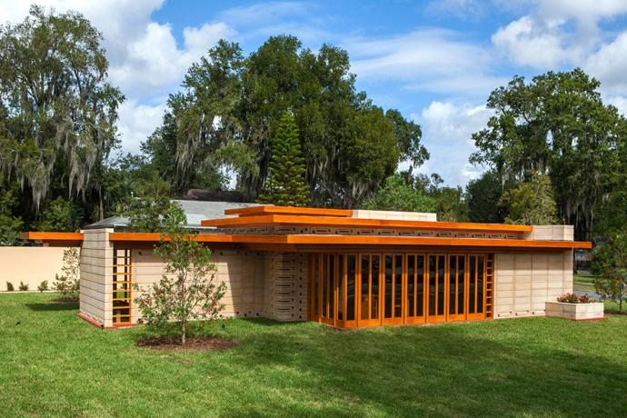 "The Usonian House, designed by architect Frank Lloyd Wright for Florida Southern College in Lakeland, Florida, was dedicated in November 2013. The term ""Usonian"" loosely means ""United States of North America,"" and Wright frequently used the term in place of the word ""American."" Photo courtesy of Florida Southern College."