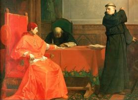 Martin Luther in front of Cardinal Thomas Cajetan during the controversy of his 95 Theses. Luther was summoned by authority of the pope to defend himself against charges of heresy before Thomas Cajetan at Augsburg in October 1518. Painting by Ferdinand Pauwels (1830-1904), public domain, courtesy of Wikimedia Commons.