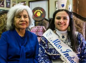 Madeleine Freeman, right, sits with her grandmother, Catherine Wade. The Choctaw language has helped her to build an important bond with her 74-year-old grandmother. Photo by Ginny Underwood, UMNS.