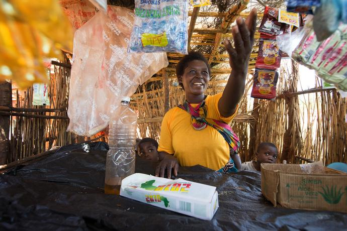 Enelesi Matawsoni helps support her six children with the proceeds from her small shop in Khosi, Malawi. She started the business with a small loan from United Methodist donations. Photo by Mike DuBose, UMNS.