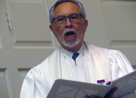 Bishop Elías Galván speaks during the Aug. 10 opening worship service of the 46th MARCHA Assembly. MARCHA, the Hispanic/Latino caucus of The United Methodist Church, met through Aug. 13 at a Dallas hotel with worship held at nearby Perkins School of Theology. Photo by Sam Hodges, UMNS.
