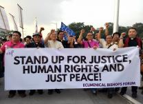 Members of the Ecumenical Bishops Forum gathered with the thousands of protesters in Rizal Park, Manila, on Sept. 21, marking the 45th year of martial law in the Philippines. It was also called a
