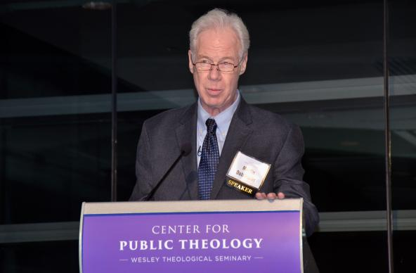 "Martin Doblmeier, director, writer and producer of ""An American Conscience: The Reinhold Niebuhr Story,"" speaks during an event co-sponsored by the Center for Public Theology at United Methodist Wesley Theological Seminary in Washington. American theologian Reinhold Niebuhr is best remembered for being the author of the Serenity Prayer. Photo by Erik Alsgaard, UMNS."