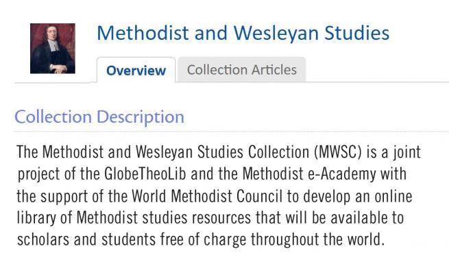 An online library of Methodist and Wesleyan resources is now available to scholars across the world through a joint project of the Methodist e-Academy and the Global Digital Library for Theology and Ecumenism. Detail from web page for The Methodist and Wesleyan Studies Collection, courtesy of Globethics.net.