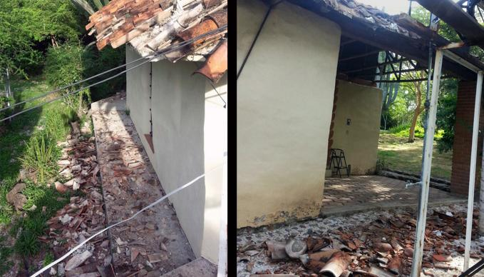 The Sept. 19 earthquake in Mexico damaged tile roofs and plaster walls at the Tree of Life Center, in the village of Tlancualpican. The center is part of the United Methodist-supported Give Ye Them to Eat ministry. Photo courtesy Muriel Henderson.