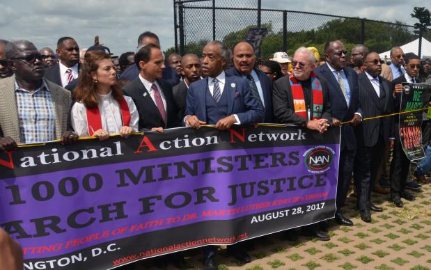"United Methodist clergy, from bishops to local pastors, were among more than 3,000 ministers gathered in the shadow of the Martin Luther King Jr. Memorial in Washington on Aug. 28 for the ""Ministers March for Justice."" Marchers walked down Pennsylvania Avenue to the Department of Justice building. Photo by Erik Alsgaard, UMNS."
