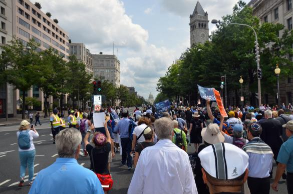 "More than 3,000 ministers marched down Pennsylvania Avenue in Washington during the ""Ministers March for Justice"" on Aug. 28. Photo by Erik Alsgaard, UMNS."