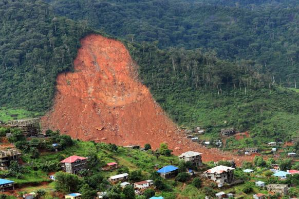 A view of Sugar Loaf Mountain in Regent area of Freetown, Sierra Leone, shows the breadth of the area that was devastated by flooding on Aug. 14. Torrential rains led a mudslide that resulted in the death of nearly 400 people with figures expected to rise as recovery efforts continue. Photo by Phileas Jusu, UMNS.