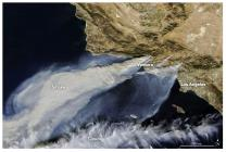Thick smoke streams from several fires in southern California on NASA's Terra satellite image from Dec. 5, 2017. Ojai, California, is 20 miles from Ventura.