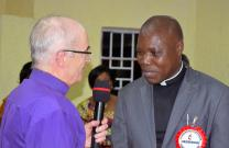 Bishop Patrick Streiff, left, of the Central and Southern Europe Episcopal Area, greets the Rev. Daniel Onashuyaka Lunge after he is elected a United Methodist bishop by delegates at the Congo Central Conference on March 18. Lunge, 59, was elected at the quadrennial meeting in Kamina. Photo by Eveline Chikwanah, UMNS.
