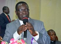 The Rev. Kasap Owan, president of the Katanga Methodist University in Mulungushi, is elected a United Methodist bishop by delegates at the Congo Central Conference meeting in Kamina, Democratic Republic of Congo. Owan, 62, was elected March 18 during the quadrennial meeting. Photo by Eveline Chikwanah, UMNS.​