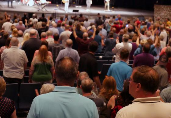Participants in the New Room Conference join in worship on Sept. 22 at Church of the City in Franklin, Tennessee. The gathering both opened and closed with Charles Wesley hymns. Photo by Heather Hahn, UMNS.