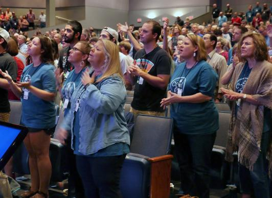 Some 1,500 United Methodists and other Christians in the Wesleyan family attended the New Room Conference on Sept. 20-22 in Franklin, Tenn. The gathering aims to teach practices that can lead to Christian revival. Photo by Heather Hahn, UMNS.