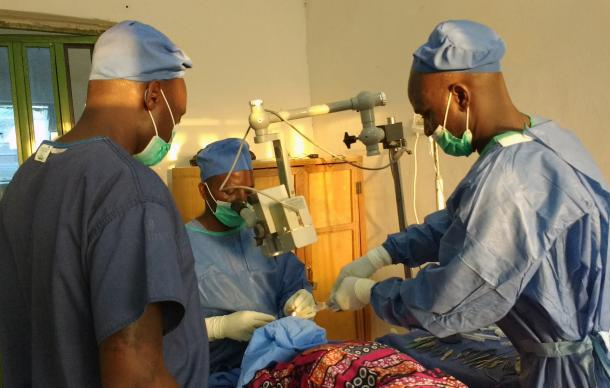 Eye surgery is performed on a patient at Gwandum Clinc in Nigeria. The mobile clinic and rural health care program of The United Methodist Church in Nigeria are saving lives in remote areas that aren't reached by government health programs. Photo by the Rev. Ande I. Emmanuel, UMNS.