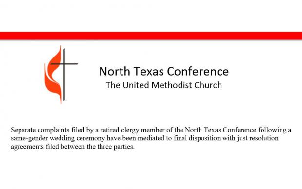 An image of only the top paragraph of a press release issued by the North Texas Conference announcing that just resolutions had been reached among three parties after complaints following a same-gender wedding ceremony. Graphic courtesy of the North Texas Conference; cropped by UMNS.