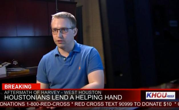 Oliver Carter, a member of Chapelwood United Methodist Church in Houston, is interviewed by KHOU, a CBS affiliate station in Houston, about HoustonHarveyRescue.com. The web app, developed by Carter and fellow Chapelwood member Matthew Marchetti, helps connect locate people who needed rescuing with volunteers. Photo courtesy of Oliver Carter.