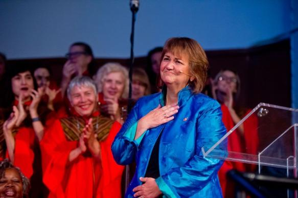 United Methodist Bishop Karen Oliveto says goodbye Aug. 14 at Glide Memorial United Methodist Church in San Francisco, after eight years as pastor. She was elected bishop by the Western Jurisdiction in July. Oliveto is the first openly gay pastor elected to the United Methodist episcopacy and her standing could be affected by a case before the denomination's Judicial Council. Photo by Alain McLaughlin Photography Inc.