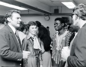 Paul Hardin III, with wife, Barbara, and a student during an event related to his installation as president of Drew University in 1975. Hardin, who died July 1, 2017, served as president of three United Methodist-related schools, including Drew. Photo courtesy of Drew University Archives