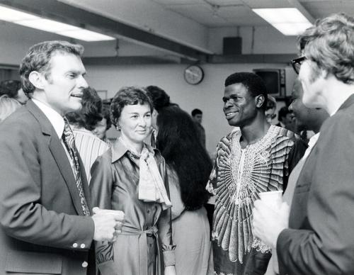 Paul Hardin III, with wife, Barbara, and a student during an event related to his installation as president of Drew University in 1975. Hardin, who died July 1, 2017, served as president of three United Methodist-related schools, including Drew. Photo courtesy of Drew University Archives.