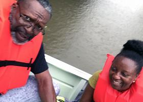 Rising floodwaters from Tropical Storm Harvey led to the Aug. 27 evacuation of the Rev. Vincent Harris and his Paula from their Houston-area home. Photo courtesy of the Rev. Vincent Harris.   ?