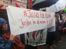 Attendees of a rally hold a sign demanding justice for Kian delos Santos and other victims of extrajudicial killings under the Operation Galugad of the War on Drugs campaign of President Rodrigo Duterte in the Philippines. Filipino United Methodists joined protests to decry Duterte's war on drugs that killed the 17-year-old student. Photo courtesy of Rubilyn Litao.