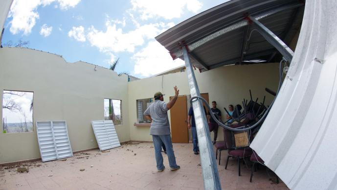 An image of damage in Puerto Rico from Hurricane Maria by the Rev. Gustavo Vasquez, UMNS.