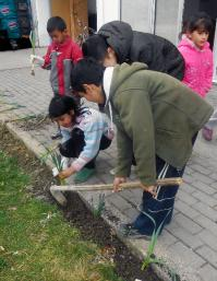 """""""It's not just the flowers that blossom — the children flourish as well."""" Roma children plant flowers in front of the school building in Ohrid, Macedonia, where they participate in a United Methodist-run school project. Photo courtesy of Christina Cekov."""
