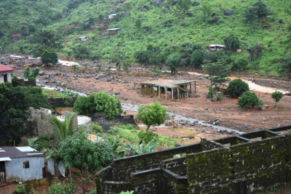 The community of Kamayama near Freetown, Sierra Leone, was hit hard by flooding and a mudslide. Photo by Phileas Jusu, UMNS