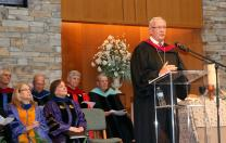 The Rev. Neil Blair, president of the Saint Paul School of Theology, preaches at Opening Convocation on the campus in Leawood, Kansas. Photo by Heather Snodgrass, courtesy of Saint Paul School of Theology.