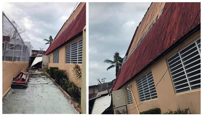 The San Juan Apostle Methodist Church in Santurce, San Juan, Puerto Rico, lost part of its roof. Photo courtesy of the Facebook page of Bishop Hector F. Ortiz.
