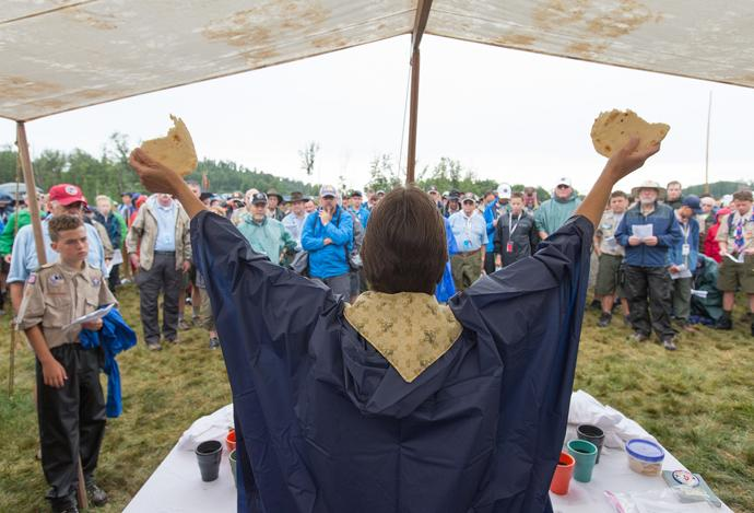 United Methodist Bishop Sandra Steiner Ball (front) presides over a service of Holy Communion during the 2017 National Scout Jamboree at the Summit Bechtel Reserve in Glen Jean, W.Va. Behind her is the Rev. Tanya Edwards-Evans of the Mississippi Conference, who is serving as a chaplain at the jamboree. Photo by Mike DuBose, UMNS.