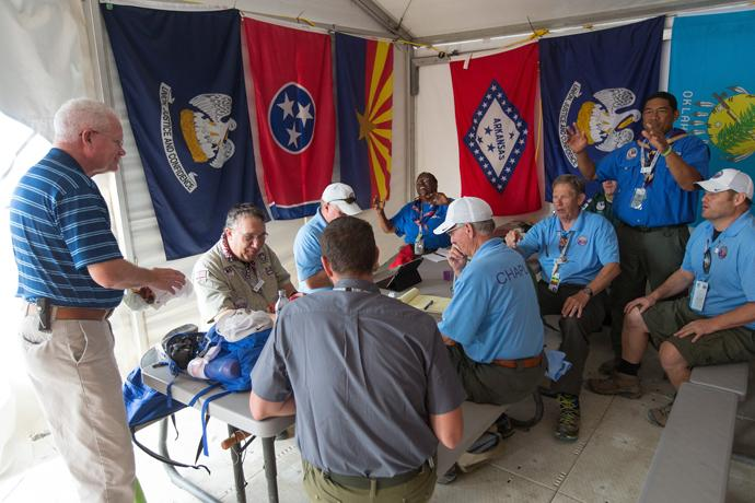 Volunteer chaplains begin their day with a staff meeting at the 2017 National Scout Jamboree at the Summit Bechtel Reserve in Glen Jean, W. Va. Photo by Mike DuBose, UMNS.