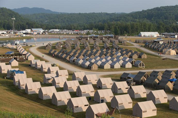 Rows of tents house Boy Scouts, staff and volunteers at the 2017 National Scout Jamboree at the Summit Bechtel Reserve in Glen Jean, W.Va. Photo by Mike DuBose, UMNS.