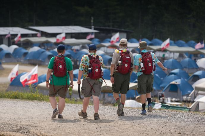 Scouts walk past rows of tents at the 2017 National Scout Jamboree at the Summit Bechtel Reserve in Glen Jean, W.Va. Photo by Mike DuBose, UMNS.