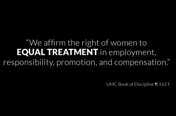 A still from the #HerTruth video points to The United Methodist Church's official policy on equal equality for women. Video image courtesy of North Alabama COSROW Team.