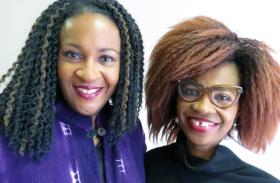 The Rev. Sheron Patterson (l), pastor of Hamilton Park United Methodist Church in Dallas, posed Jan. 15, 2017, with church member  Christy Obiageri Obguehi, a U.S. citizen born in Nigeria. Both women were critical of President Trump for reported remarks about African countries and Haiti. Photo by Sam Hodges, UMNS.