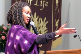 The Rev. Sheron Patterson, pastor of Hamilton Park United Methodist Church in Dallas, took to the pulpit on Jan. 15, 2017, and criticized President Trump for his reported remarks about African countries and Haiti. Photo by Sam Hodges, UMNS.