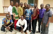 Students from United Methodist University in Sierra Leone pose together after a lecture in theology. There are 13 students pursuing theology degrees and 18 certificate students in chaplaincy at the new School of Theology. Photo by Phileas Jusu, UMNS.