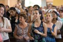 Parishioners sing during Sunday worship at Mariano Methodist Church in Havana, Cuba. Photo by Mike DuBose, United Methodist Communications.