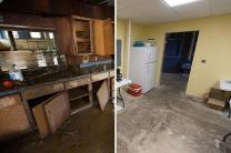 The kitchen at Clendenin (W. Va.) United Methodist Church was ruined by flooding in June 2016 (left side image). The partially rebuilt kitchen is used by volunteer teams hosted by the church in July 2017 (right side image). Photo by Mike DuBose, UMNS.