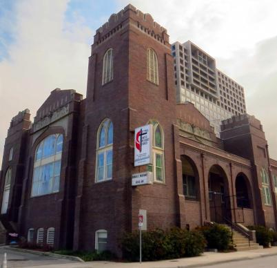 St. Paul United Methodist Church in Dallas recently went on the National Register of Historic Places. The Collegiate Gothic Revival sanctuary was built from 1913 to 1927, as funds were available. St. Paul is the only predominantly African-American church left in a part of downtown Dallas that was a center of black life during segregation. Photo by Sam Hodges, UMNS.