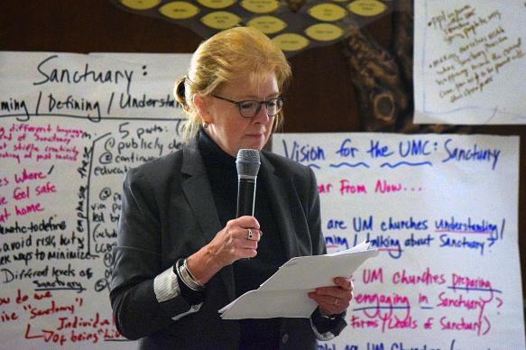 The Rev. Susan Henry-Crowe, top executive of the United Methodist Board of Church and Society, leads a a discussion at the National Immigration Gathering on ways churches can offer sanctuary to those facing deportation.  The event was held March 12-14, in Washington, and Church and Society was a co-sponsor. The agency has worked to broaden the definition of sanctuary. Photo courtesy Board of Church and Society.