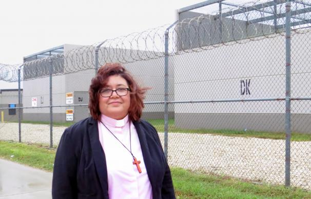 The Rev. Liliana Padilla, pastor of San Pablo United Methodist Church, is a regular visitor to the South Texas Detention Complex in Pearsall, Texas. She gets requests from families and United Methodist Churches to counsel some of those being held there. Photo by Sam Hodges, UMNS.