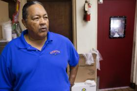 "David Swett, owner of Swett's restaurant, often hires ex-offenders. ""We do a lot of hiring of people who have been incarcerated, we have been very successful,"" he said. ""We get some good people, of course, sometimes we get people who slip."" Photo by Mike DuBose, UMNS."
