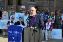 Retired United Methodist Bishop Joel Martinez speaks during a rally at the Texas State Capitol protesting a proposed bill that would keep transgender Texans from using bathrooms that align with their gender identity. About 200 United Methodists were among the 500 people at the event. Photo by Susan Risdon.