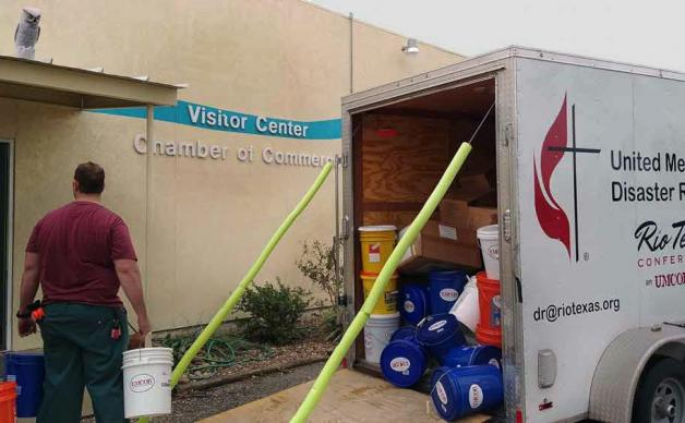 Flood buckets and other relief supplies from the Rio Texas Conference of The United Methodist Church have begun to arrive in hurricane-battered areas of the upper Texas Gulf Coast. Photo courtesy Rio Texas Conference.