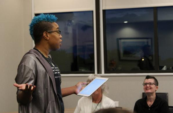 Facilitator J Mase III shares his poetry with participants at Rooted, an ecumenical trans and gender-expanded retreat held in Chicago Aug. 11-13.